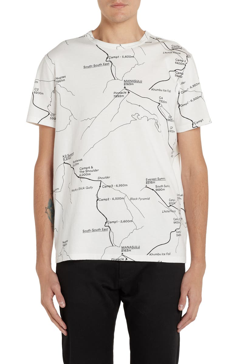 MONCLER GENIUS x 2 1952 Map Graphic Cotton T-Shirt, Main, color, IVORY