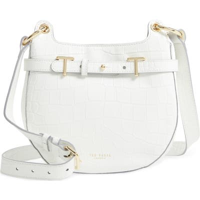 Ted Baker London Aspire Croc Embossed Leather Crossbody Bag - Ivory