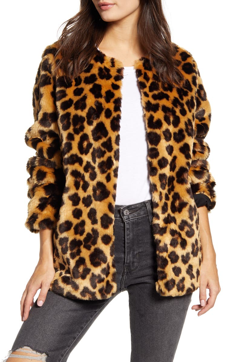 BAND OF GYPSIES Walk on the Wild Side Faux Fur Jacket, Main, color, BEIGE/ BLACK