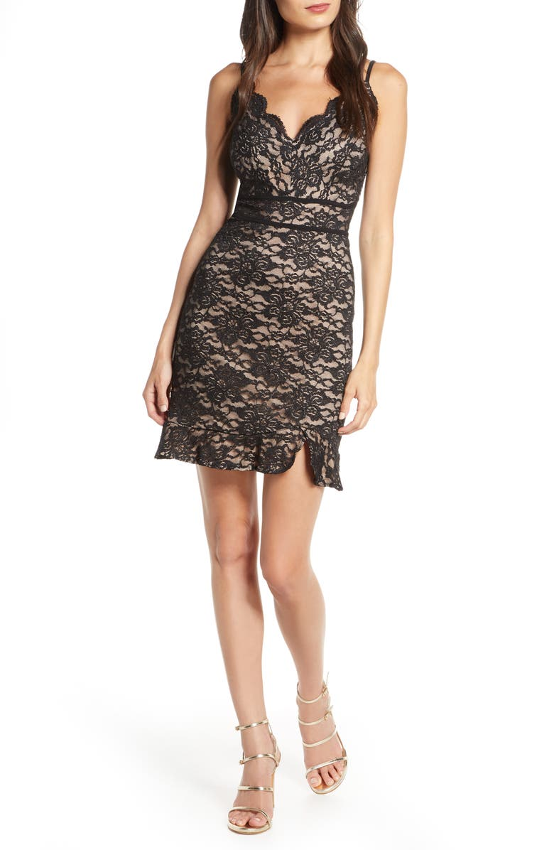 MORGAN & CO. Glitter Lace Sleeveless Cocktail Dress, Main, color, BLACK/ NUDE