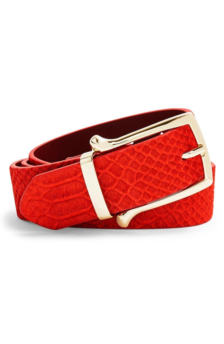 TOPSHOP Croc Sakar Belt, Main, color, RED
