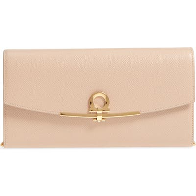 Salvatore Ferragamo Icona Leather Clutch - Beige