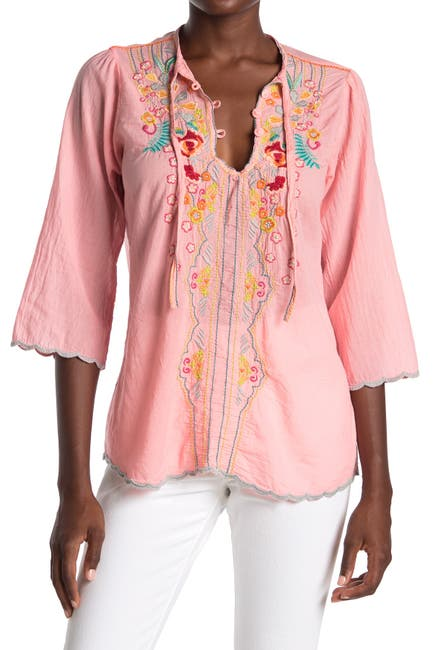 Image of Johnny Was Limon Embroidered Scallop Edge Blouse