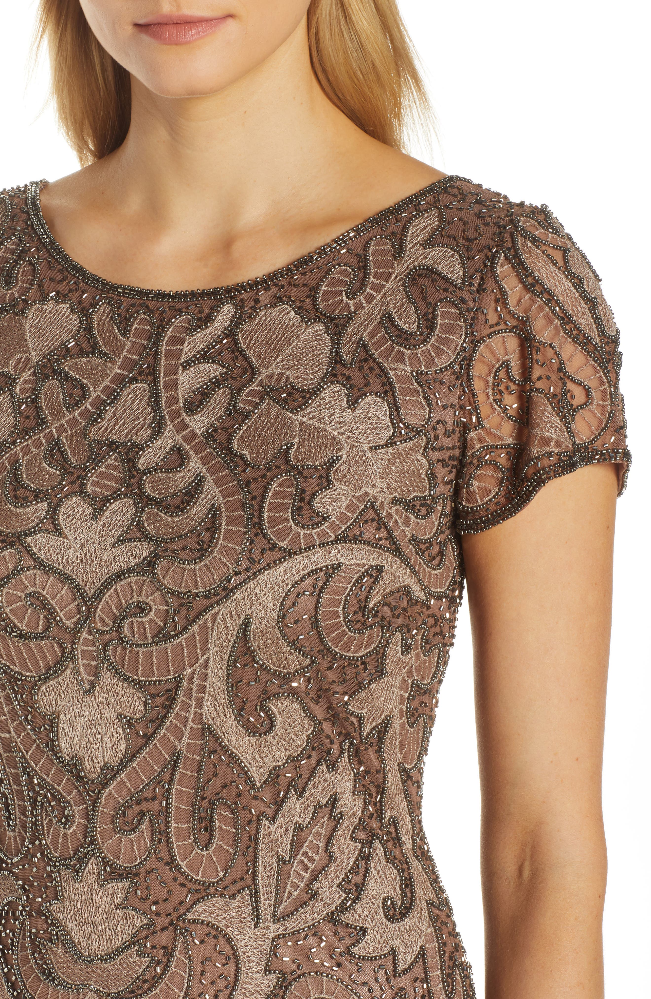 ,                             Embroidered Mesh Gown,                             Alternate thumbnail 7, color,                             MOCHA