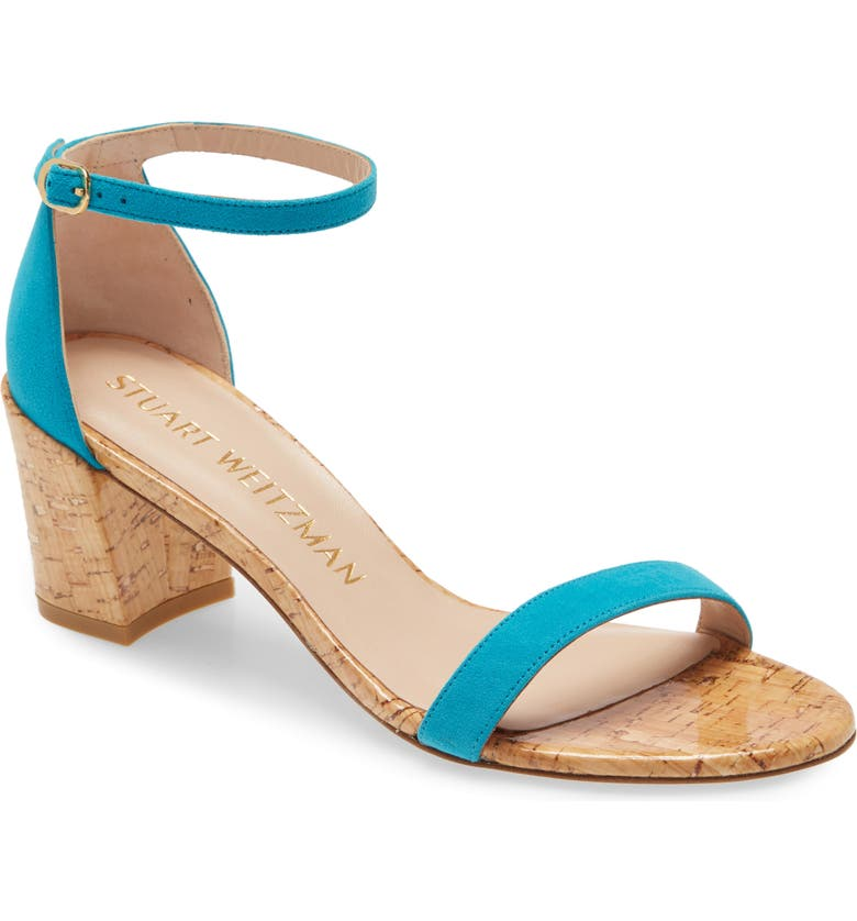 STUART WEITZMAN Simple Ankle Strap Sandal, Main, color, CARIBE/ NATURAL
