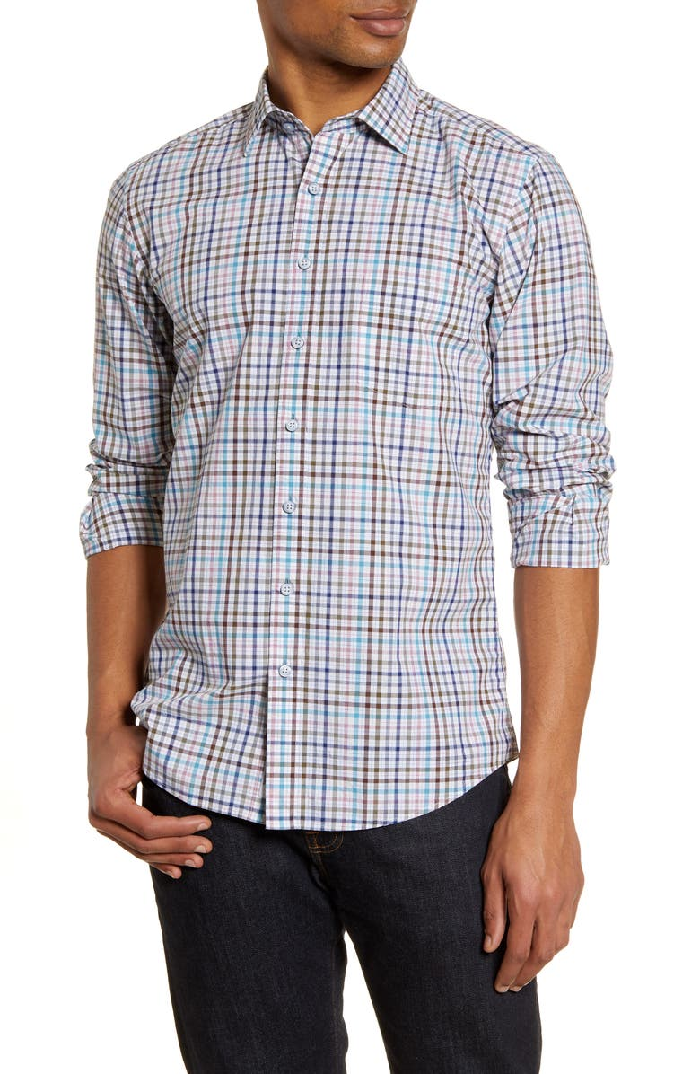 RODD & GUNN Coral Reef Classic Fit Check Button-Up Shirt, Main, color, 460