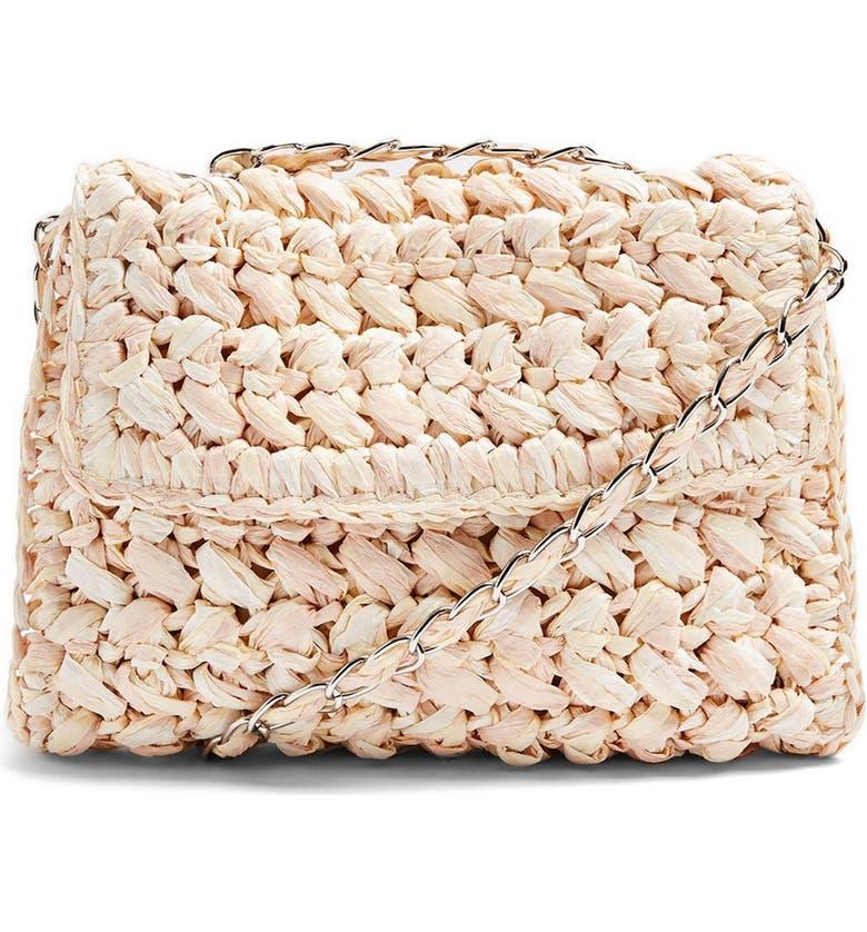 TOPSHOP Fiji Woven Straw Shoulder Bag, Main, color, NUDE