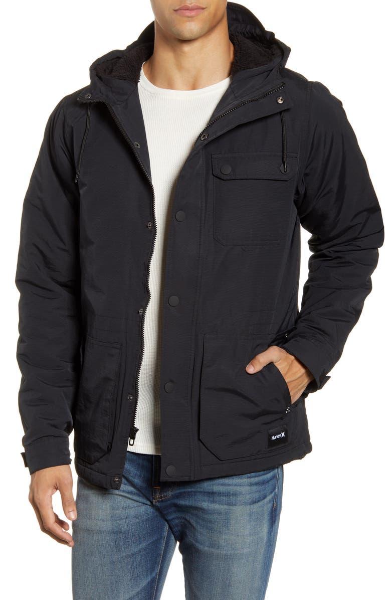 HURLEY Slammer Field Jacket, Main, color, BLACK
