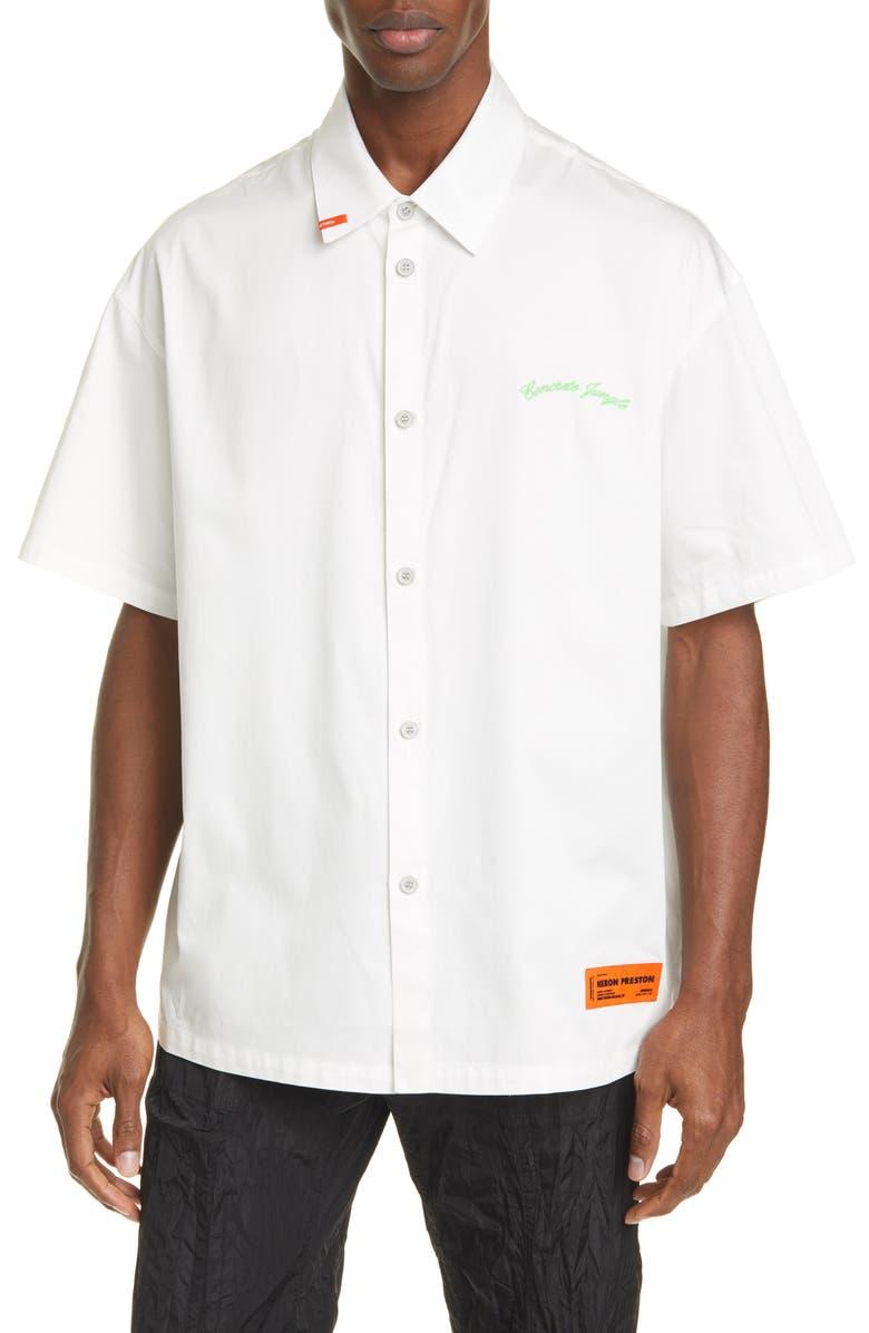 HERON PRESTON CTNMB Short Sleeve Button-Up Baseball Shirt, Main, color, WHITE ORANGE