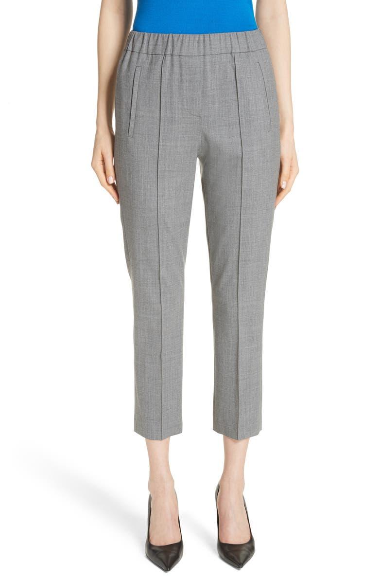 MICHAEL KORS Pintuck Wool Blend Trousers, Main, color, BANKER