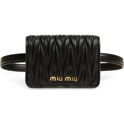 Miu Miu Mini Matelasse Leather Belt Bag - Black