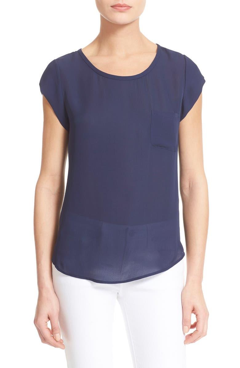 JOIE 'Rancher' Silk Pocket Top, Main, color, 418