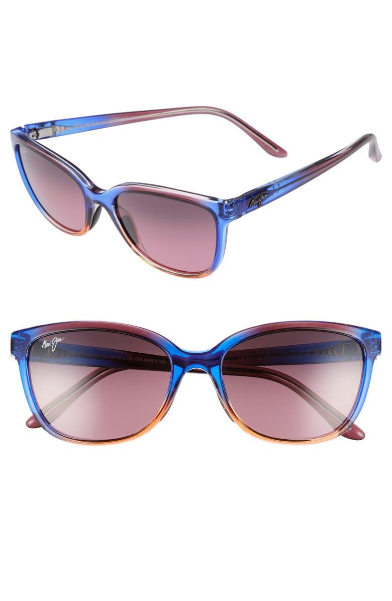 MAUI JIM Honi 54mm PolarizedPlus2<sup>®</sup> Cat Eye Sunglasses, Main, color, SUNSET/ MAUI ROSE