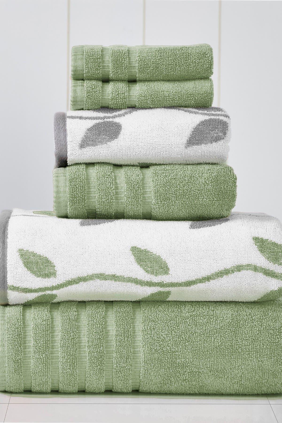 Image of Modern Threads Yard Dyed Towel 6-Piece Set - Organic Vines Sage Green