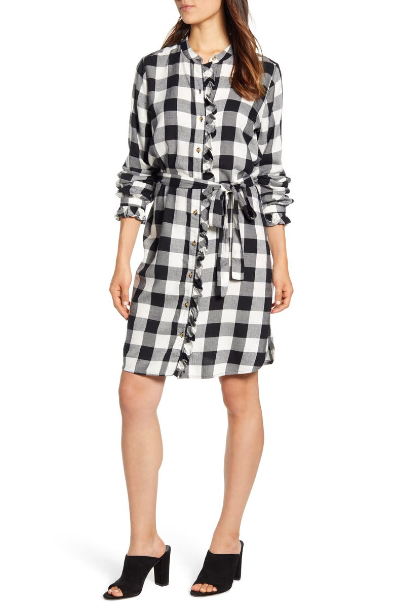 LUCKY BRAND Mackenzie Buffalo Plaid Long Sleeve Cotton Blend Shirtdress, Main, color, 001