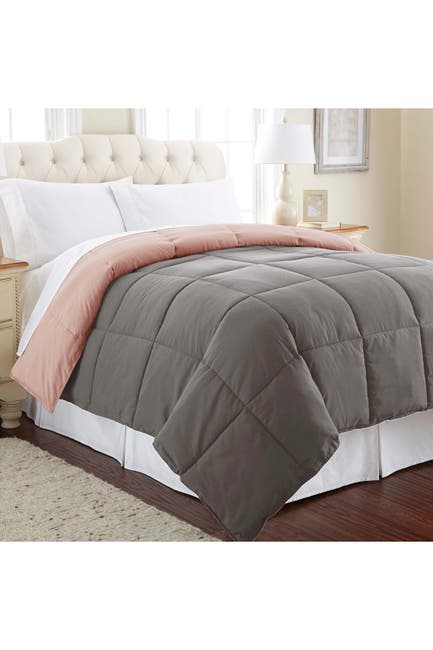 Image of Modern Threads Queen Down Alternative Reversible Comforter - Charcoal/Misty Rose