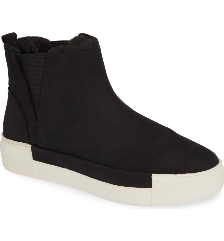JSLIDES Val Faux Fur Lined Platform Sneaker, Main, color, BLACK NUBUCK