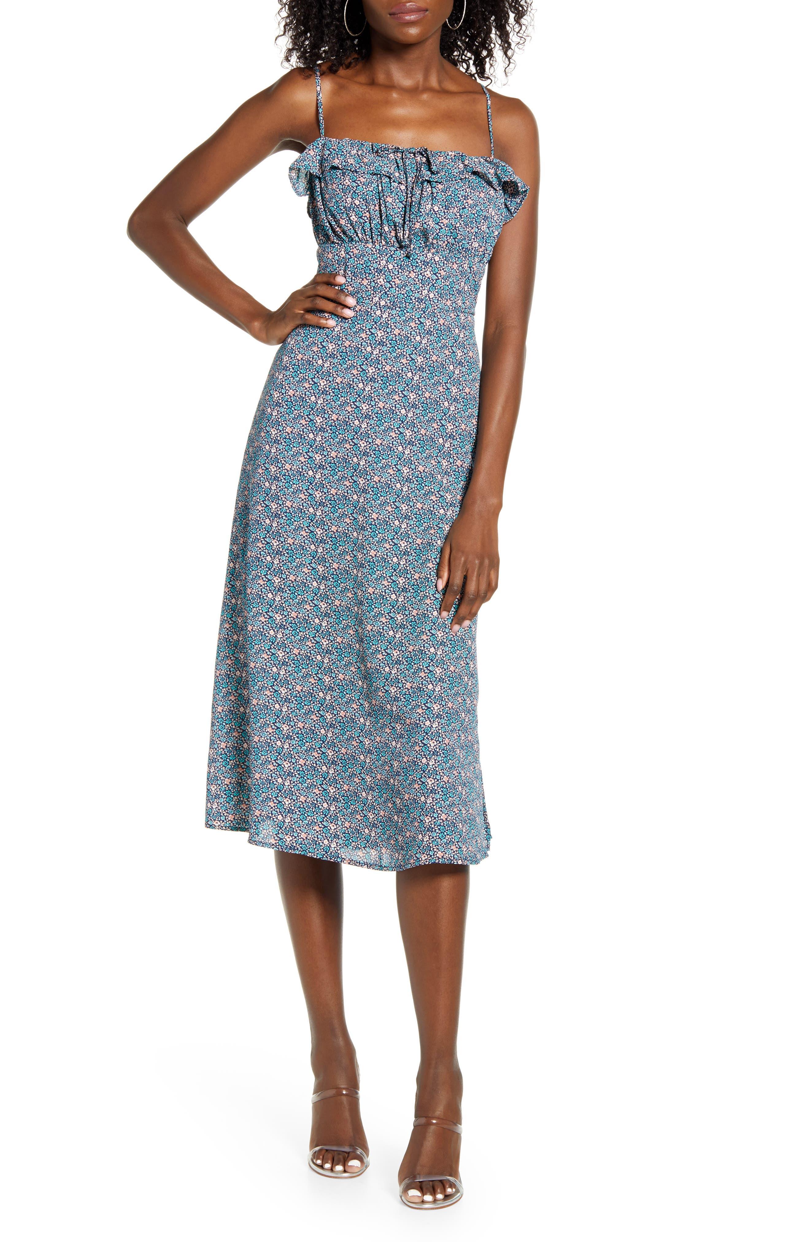 Row A Floral Print Ruffle Midi Dress | Nordstrom