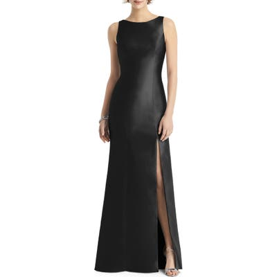 Alfred Sung Bateau Neck Mermaid Gown, Black