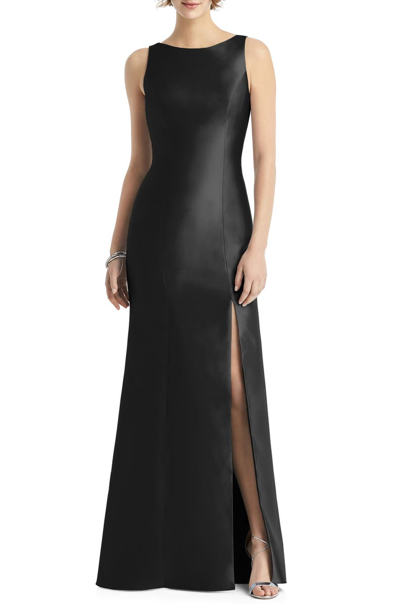 ALFRED SUNG Bateau Neck Mermaid Gown, Main, color, BLACK