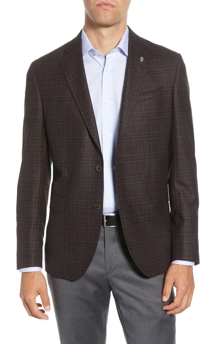 TED BAKER LONDON Konan Trim Fit Plaid Wool Sport Coat, Main, color, BROWN