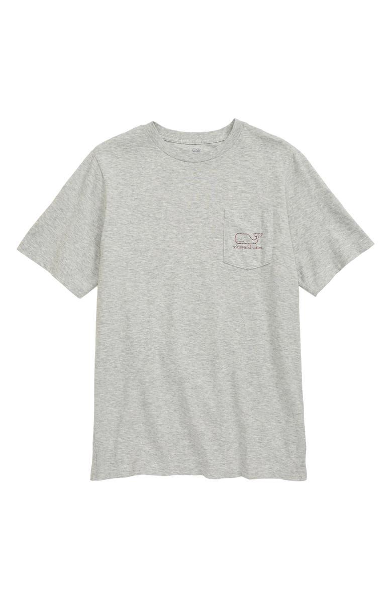 VINEYARD VINES Heathered Vintage Whale Pocket T-Shirt, Main, color, GRAY HEATHER