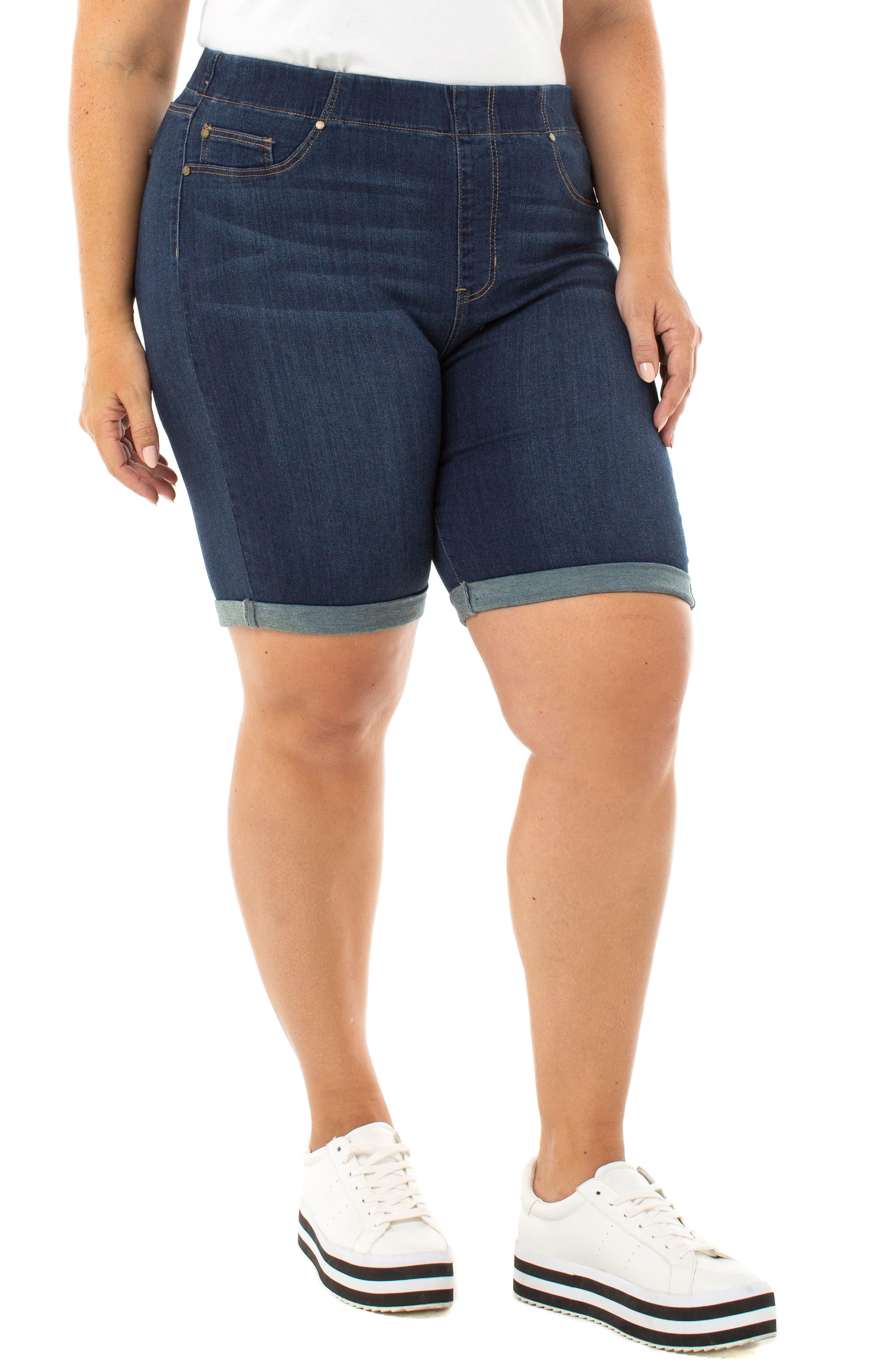 Plus Women's Liverpool Chloe Roll Cuff Denim Bermuda Shorts