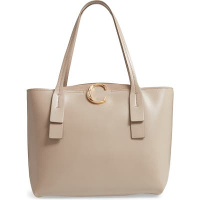 Chloe Medium C Calfskin Leather Tote - Grey