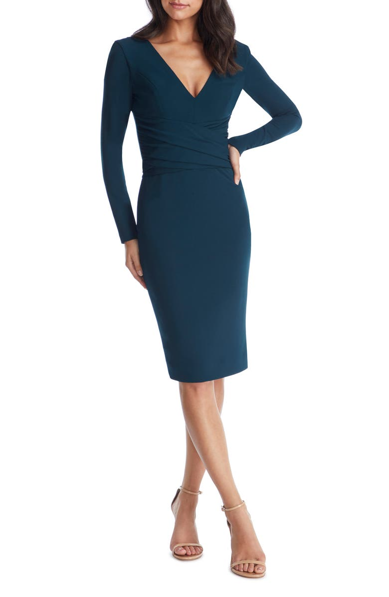 DRESS THE POPULATION Drew Long Sleeve Body-Con Dress, Main, color, PINE