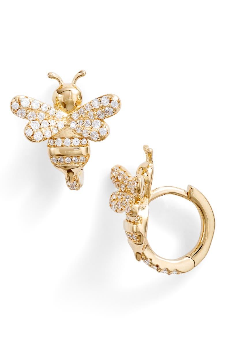 APM MONACO Ramatuelle Bee Hoop Earrings, Main, color, GOLD