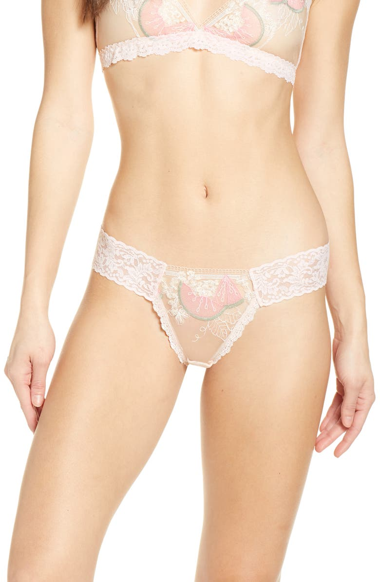 HANKY PANKY Melon-y Low Rise Thong, Main, color, ROSY PEACH