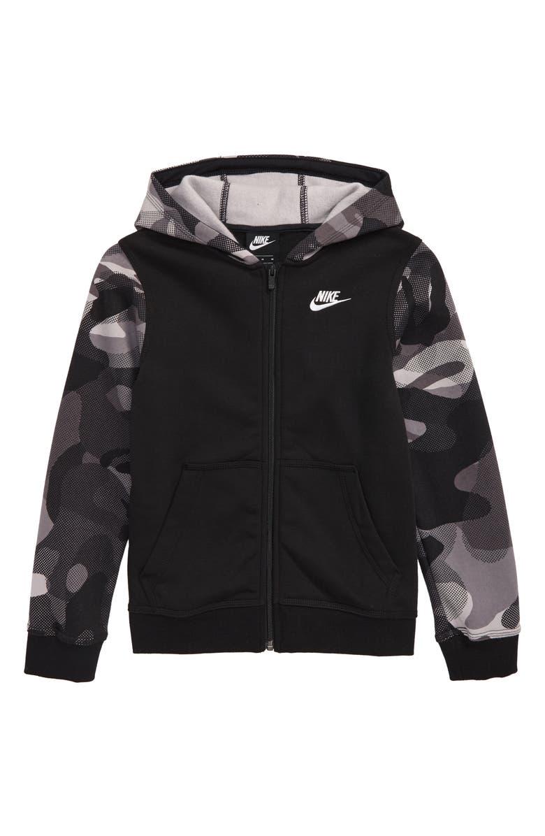 NIKE Club Full Zip Fleece Hoodie, Main, color, BLACK/ WHITE