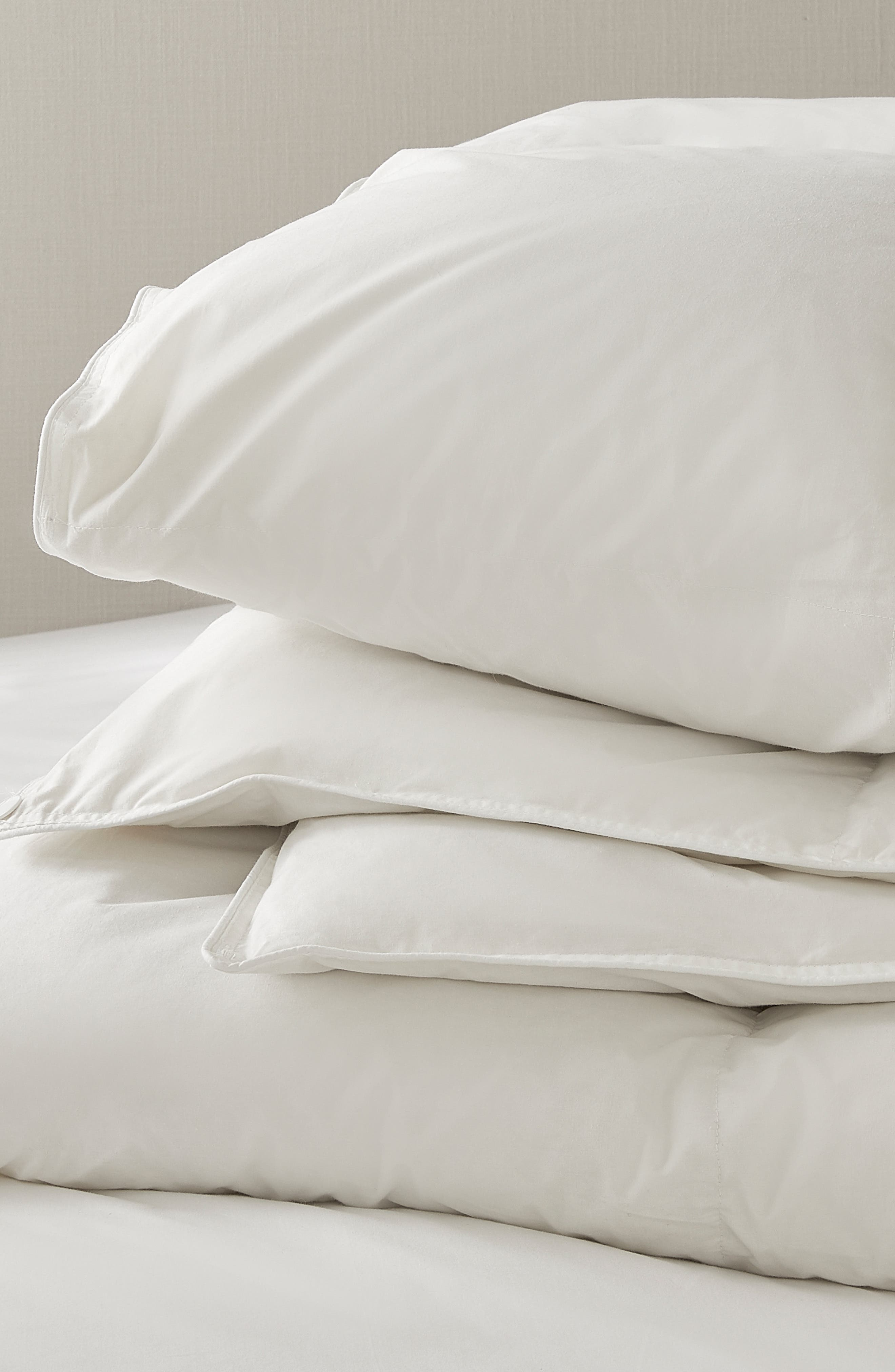 ,                             Perfect Everyday Light Warmth Duck Feather & Down Comforter,                             Main thumbnail 1, color,                             WHITE