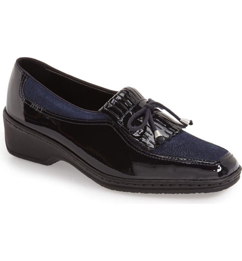 ARA 'Rachel' Loafer, Main, color, NAVY PATENT LEATHER