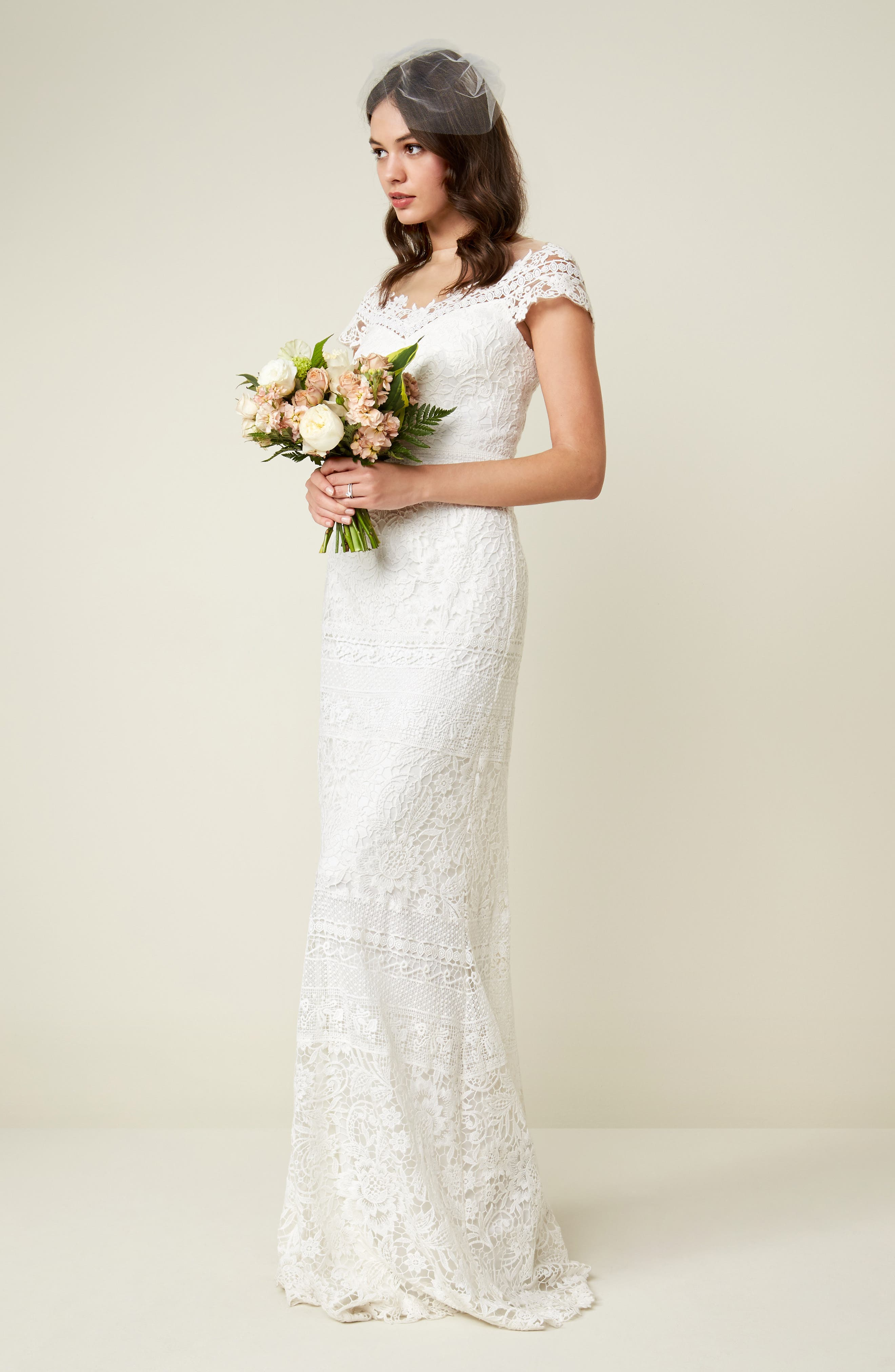 ,                             Off the Shoulder Illusion Lace Gown,                             Alternate thumbnail 7, color,                             IVORY