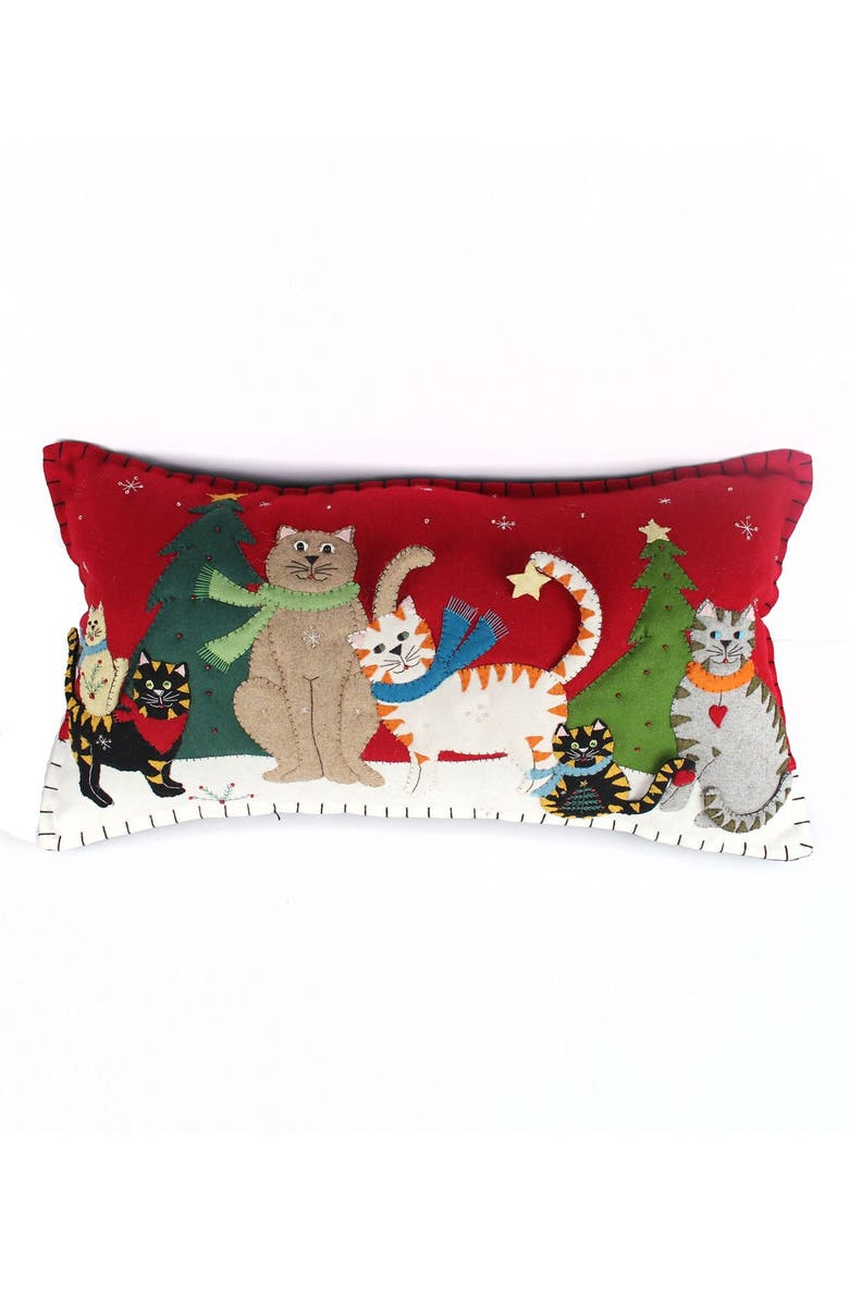 NEW WORLD ARTS Six Cats Accent Pillow, Main, color, RED