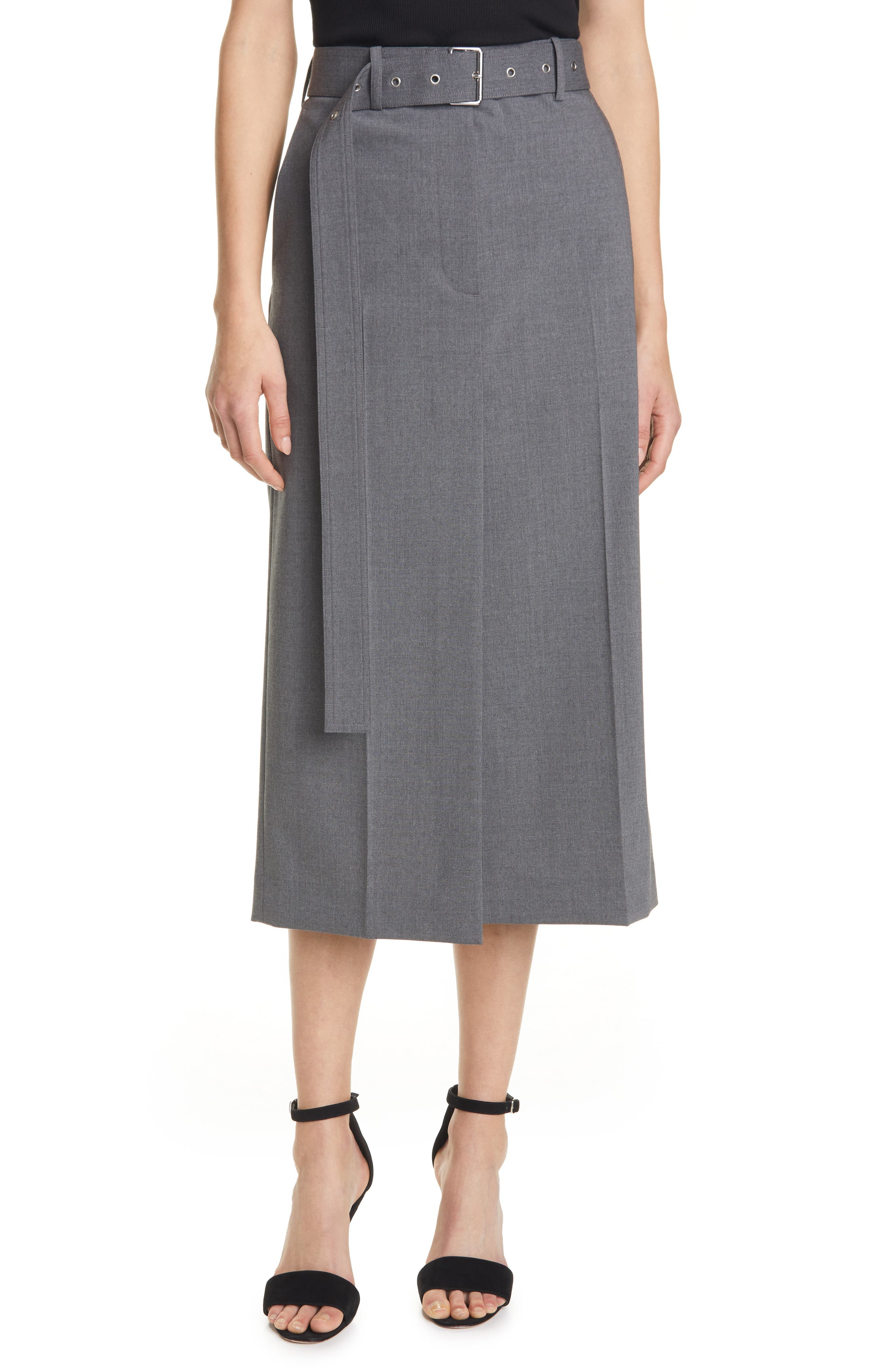 Image of Helmut Lang Wool Blend Trouser Skirt