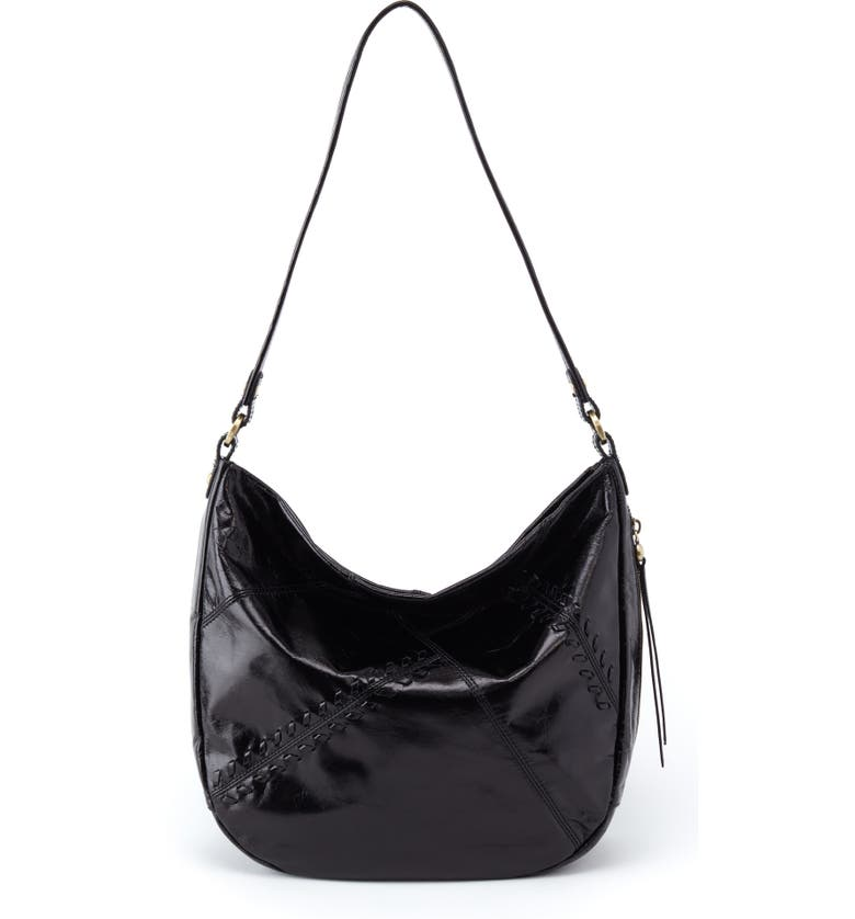HOBO Garner Leather Hobo, Main, color, BLACK