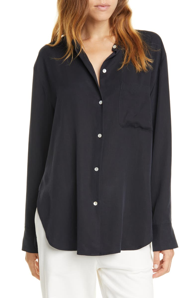 VINCE Relaxed Band Collar Blouse, Main, color, 403