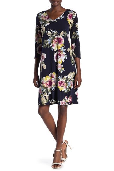 Image of Nina Leonard Floral 3/4 Sleeve Swing Dress