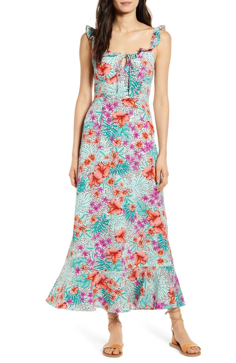 LOST + WANDER Flower Power Maxi Dress, Main, color, 500