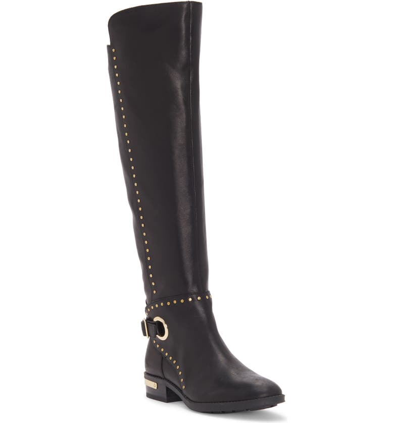 VINCE CAMUTO Poppidal Knee High Riding Boot, Main, color, BLACK LEATHER