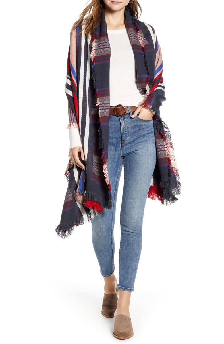 TREASURE & BOND Stripe Blanket Wrap, Main, color, NAVY COMBO ABBY STRIPE