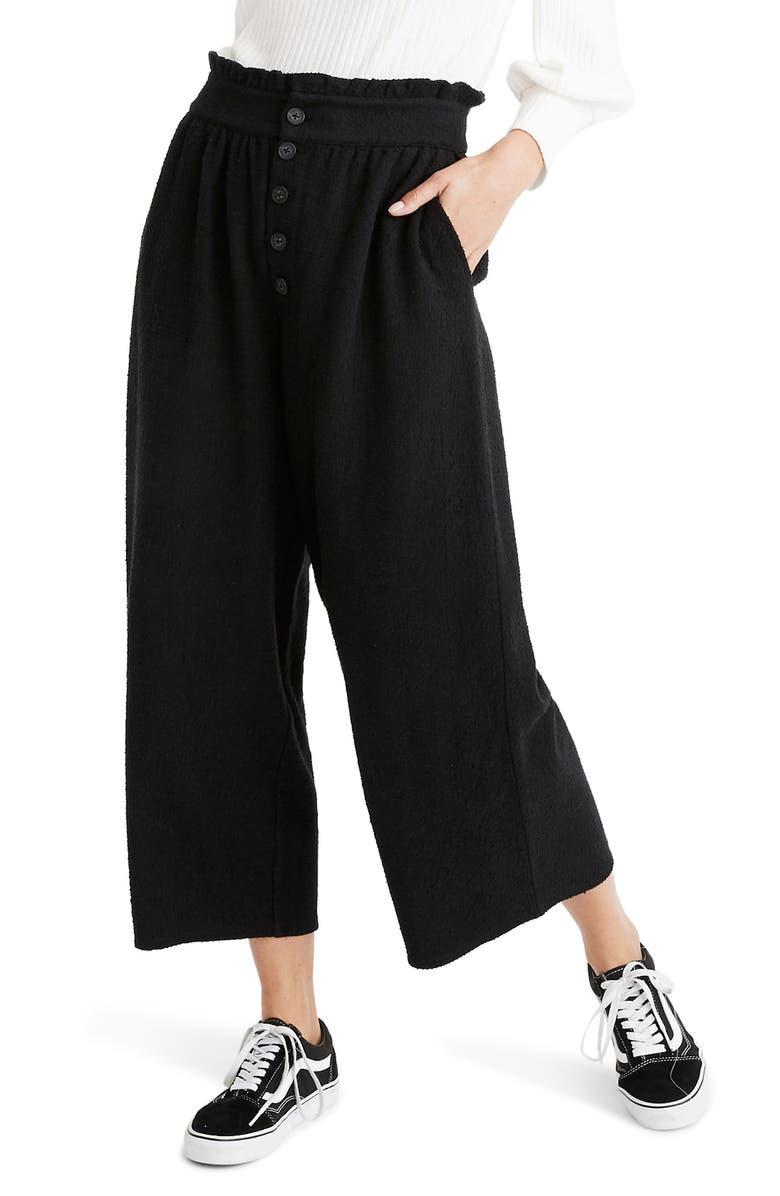 MADEWELL Texture & Thread Paperbag Pants, Main, color, TRUE BLACK