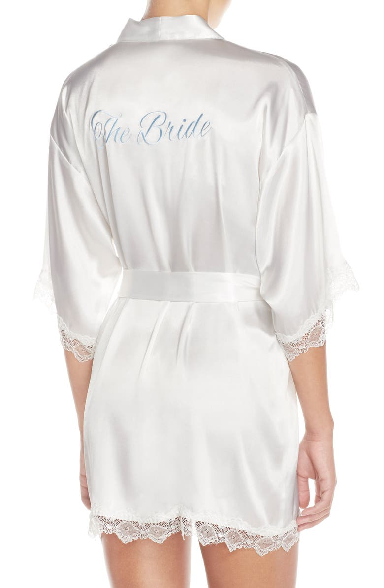 The Bride Short Satin Wrap, Alternate, color, WHITE