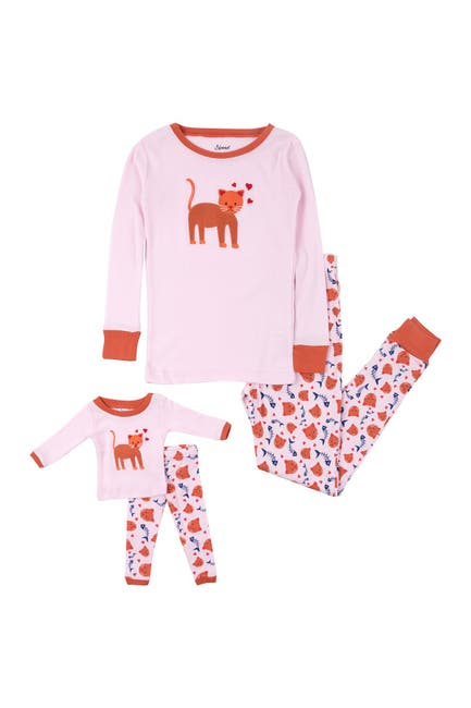 Image of Leveret Kitten Pajama & Matching Doll Pajama Set