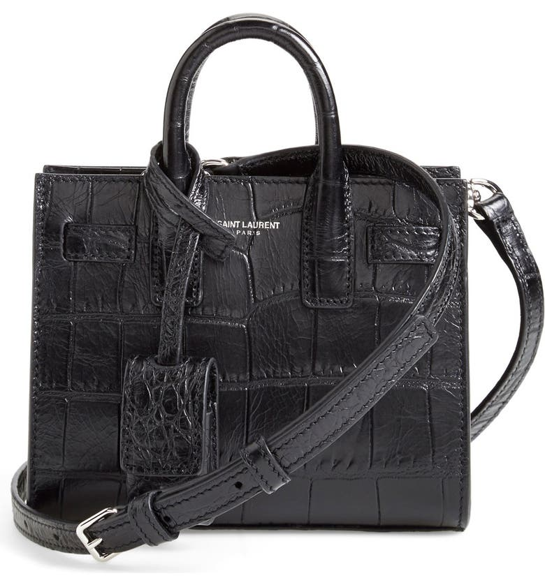 SAINT LAURENT 'Toy Sac de Jour' Croc Embossed Calfskin Leather Tote, Main, color, 001