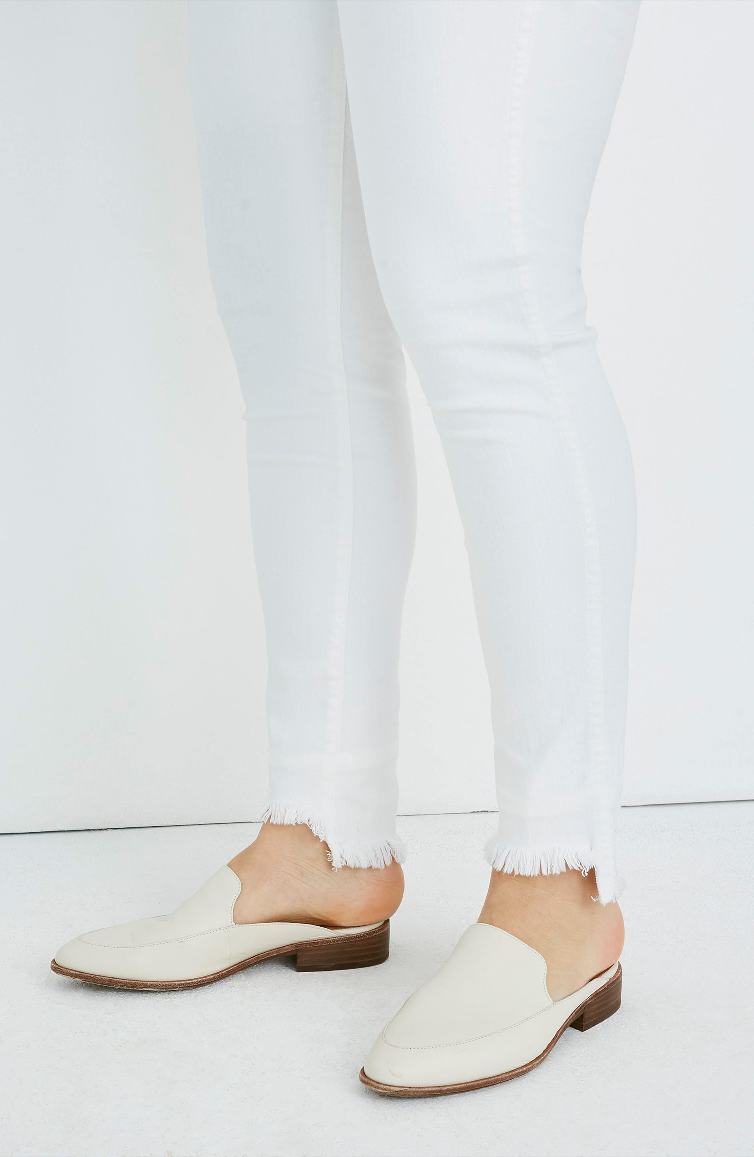 ,                             10-Inch High Waist Button Front Ankle Skinny Jeans,                             Alternate thumbnail 11, color,                             PURE WHITE