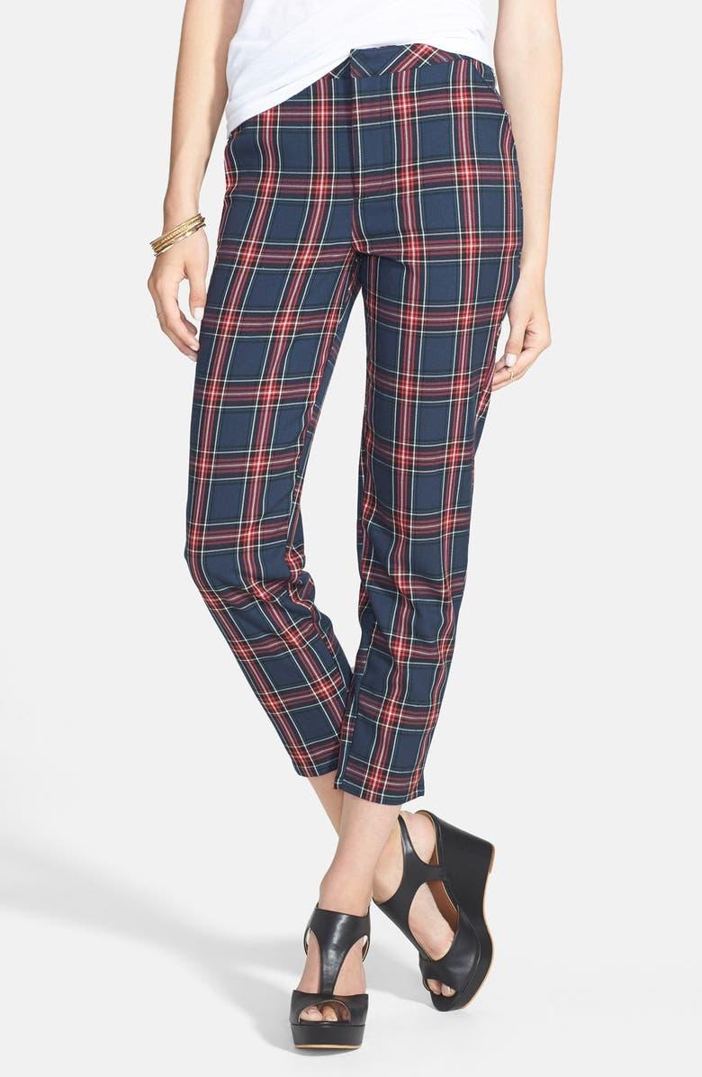 SOCIALITE Plaid Crop Pants, Main, color, 400