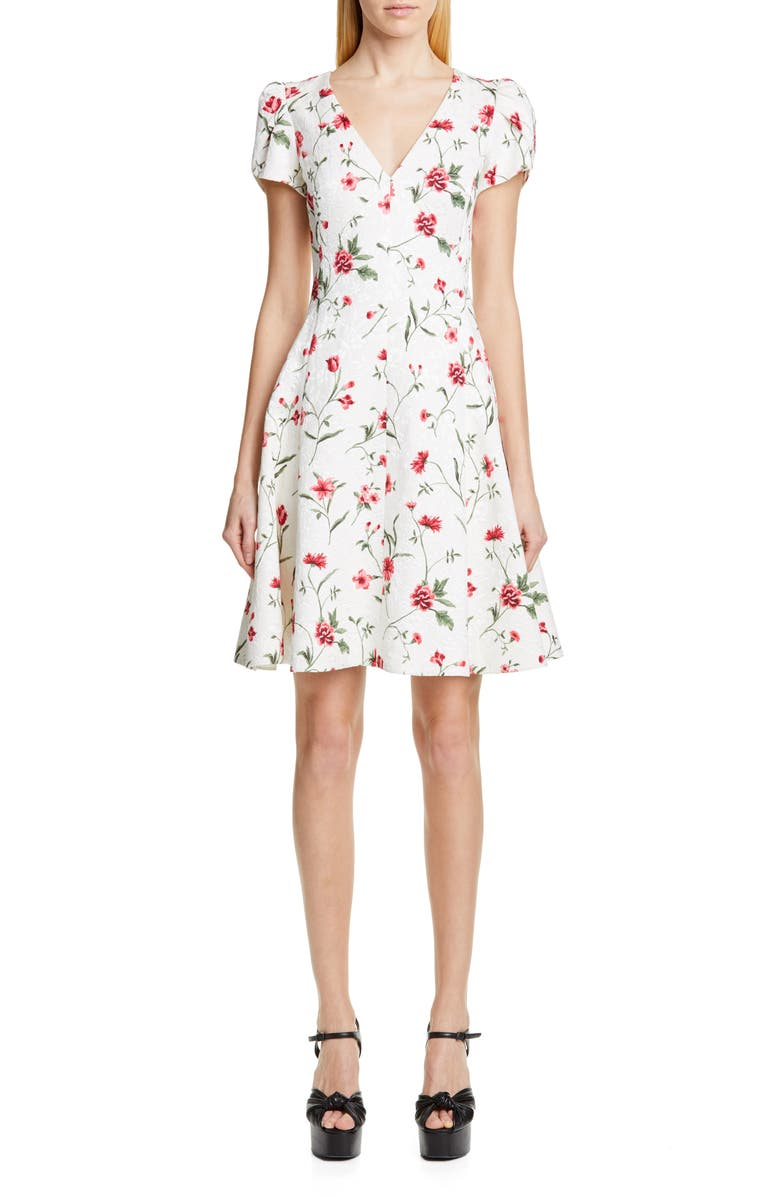 MICHAEL KORS COLLECTION Michael Kors Petal Sleeve Floral Matelassé Dress, Main, color, IVORY/ ROSEWOOD